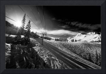 Skiing on Whistler mountain snow b&w photograph