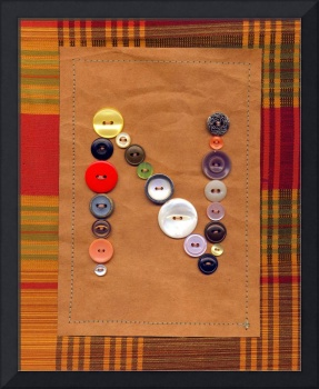 Letter N with Vintage Buttons and Brown Paper Bag