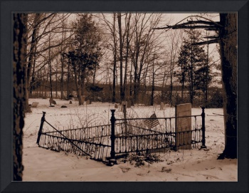 A Solitary Military Gravestone in Rural NY (Sepia)