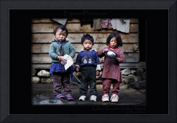 Three Nepali kids in the Khumbu Valley