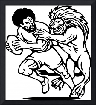 Rugby player running with ball attack by lion