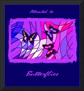 3 Butterflies On Stained Glass Abstract 2 with Fra