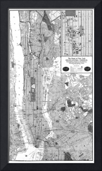 Vintage Map of New York City (1918) BW