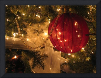 A large red ornament