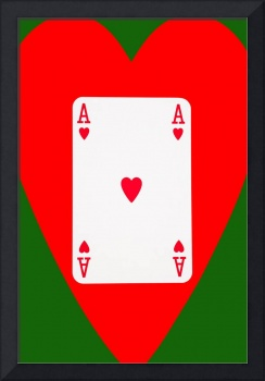 Playing Cards Ace of Hearts on Green Background