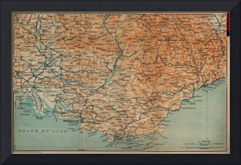 Vintage Map of Southern France (1914)
