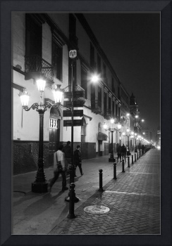 Street at night, Black and White, Lima Peru