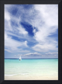 Mexico, Yucatan Peninsula, Sailboat Sailing On Tur