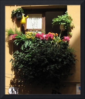 Quaint  Flower Filled Balcony in Italy