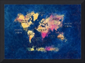 world map watercolor blue