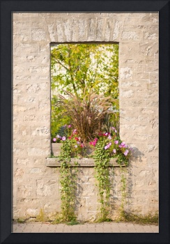 Rustic Stone Window with Flower Box