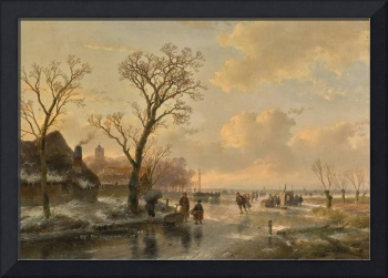 Andreas Schelfhout 1787 - 1870   SKATERS ON A FROZ
