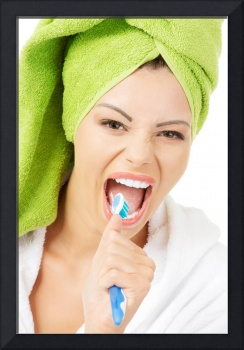 Happy pretty woman singing to tooth brush, isolate