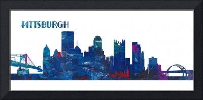 Pittsburgh Skyline in Clean Scissor Cut Style