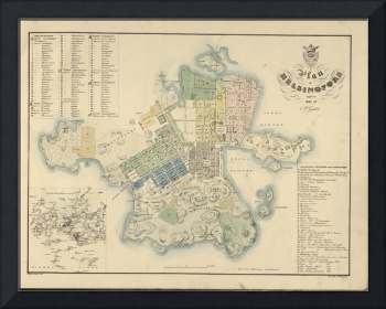 Vintage Map of Helsinki Finland (1837)