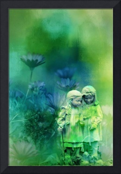 Little girls in blue and greens