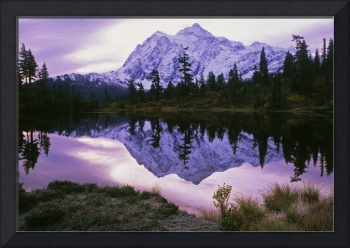 Mt. Shuksan reflected in Picture Lake in autumn