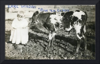 Vintage Photo  1920s - 1940s Toddler and a calf -