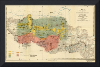 Vintage Geological Map of The Mount Everest Region