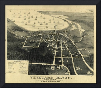 Vintage Pictorial Map of Vineyard Haven MA (1893)