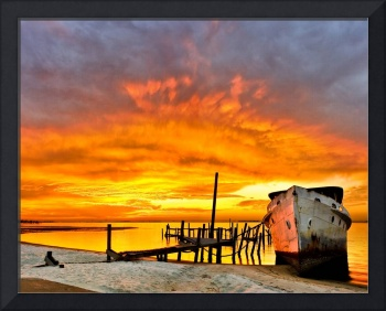 Old Boat Yellow Red Sunrise Fine Art Giclee Prints