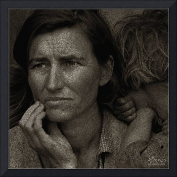 Woman and Child Drawing From Dorothea Lange Photo