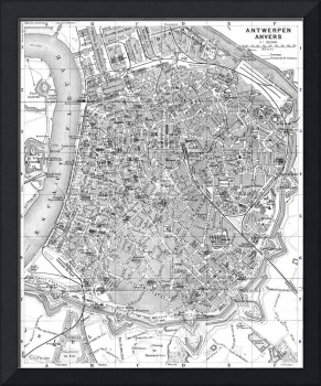 Vintage Map of Antwerp Belgium (1905) BW