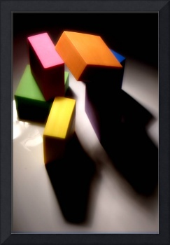 COLORED CUBES STILL LIFE WITH SHADOWS, EDIT E