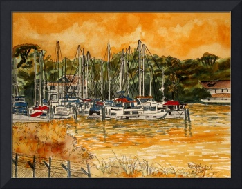 sailboat paintings gold ochre sky