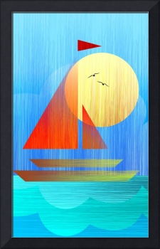 Digital painting of a sailing boat in sea.