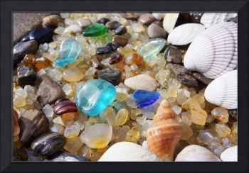 Coasta Seaglass Art Prints Beach Sea Glass Shells