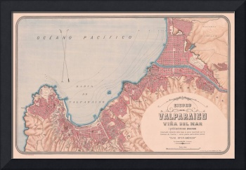 Vintage Map of Valparaiso Chile (1895)