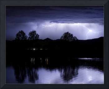 Lightning Thunderstorm Over Coot Lake Colorado