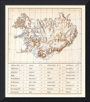 Vintage Iceland Topography Map (1896)