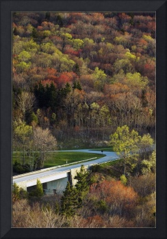 High angle view of Blue Ridge Parkway winding thr