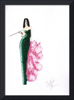 Fashion Art Green Sequinned Dress Illustration