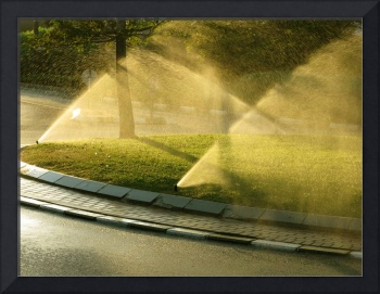 Water Sprinklers at Sunset
