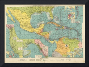Vintage Map of Central America & Caribbean Ports