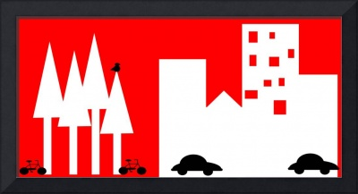 City Scape in Red and White-Digital Folk Art