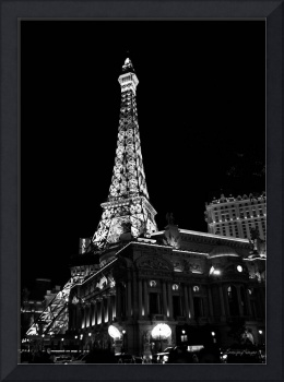 Eiffel Tower: Black and White Night View