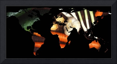 World Map Silhouette - Healthy Vegetables