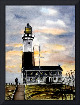montauk point lighthouse painting new york art