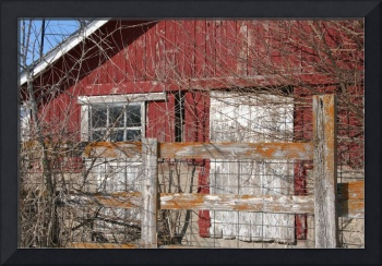 Weathered Red Barn Building