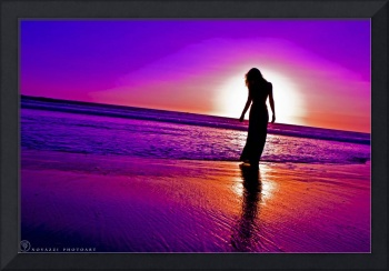 Woman in Dress Silhouette in Purple Sunset