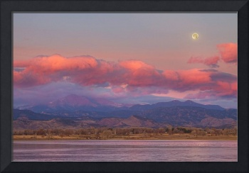 Colorado Front Range Longs Peak Full Moon Sunrise