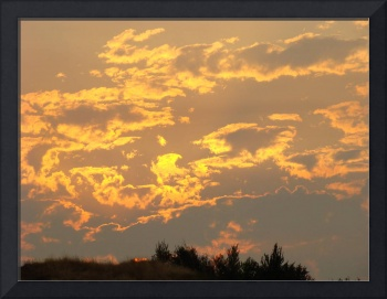 OFFICE ART PRINTS Sunset Yellow Orange Glowing Clo