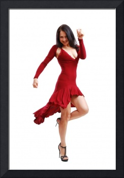 Young woman dancing in cocktail dress
