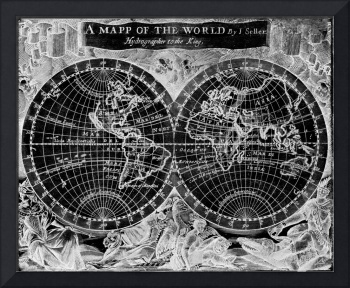 Black and White World Map (1682) Inverse