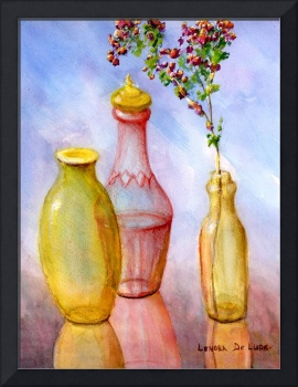 Still Life Art; Glass Bottles, Flowers, Plants