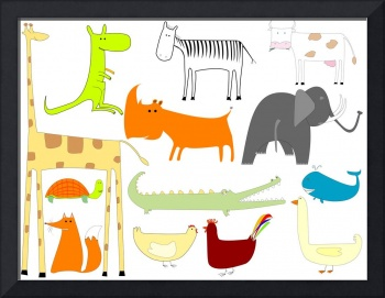 drawing of animals isolated on white background